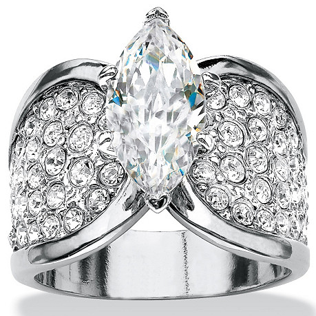 Cubic Zirconia Ring Holder platinum plated engagement anniversary womens wide edition ring purchased from USA 53005