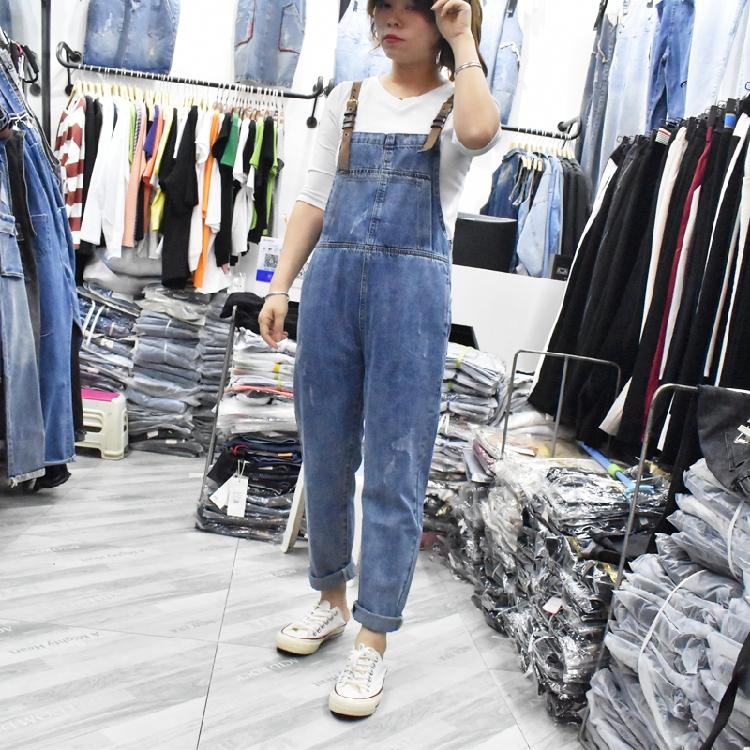 Aone牛仔裤女2019初秋新款背带裤撞色织带ins宽松显瘦休闲九分裤