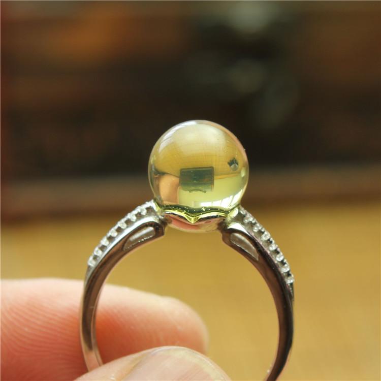 琥珀戒指 金珀 缅甸琥珀 保真天然无优化 单珠 圆珠戒指 J0102