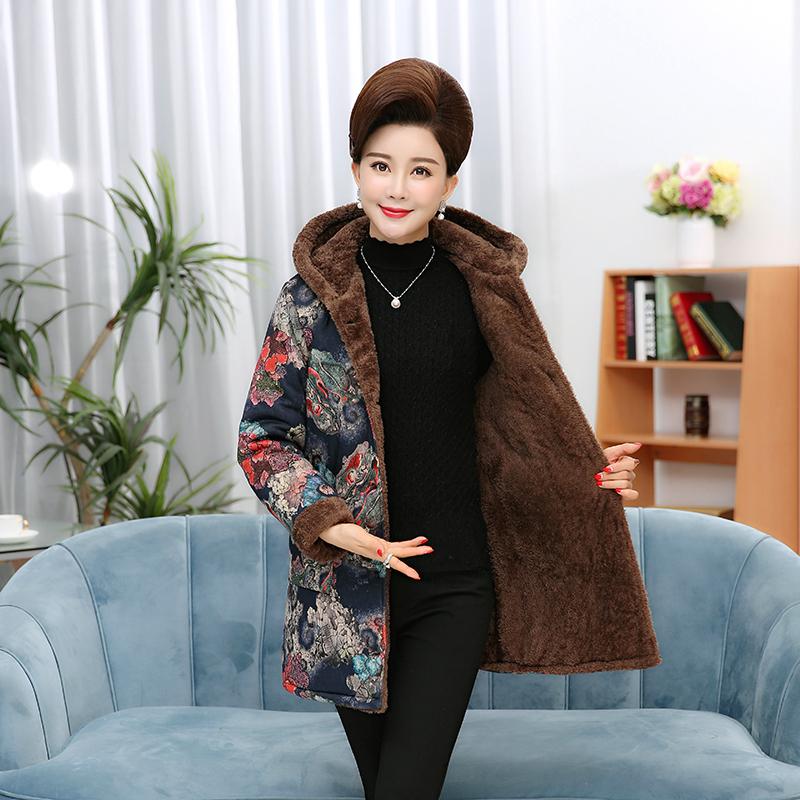 妈妈棉服连帽绒里棉衣女装中老年外套保暖棉袄绒袖口