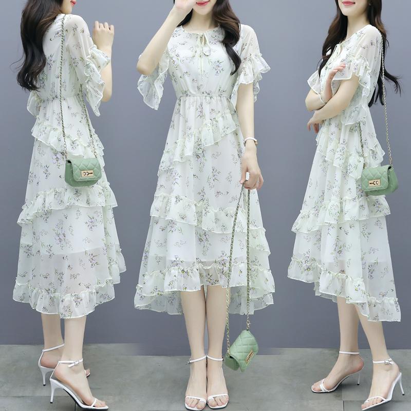 雪纺碎花连衣裙女夏2021夏季新款女装时尚气质显瘦中长款蛋糕裙子