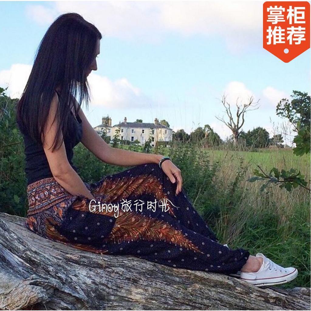 泰国进口阔腿瑜伽裤女夏民族风印度尼泊尔旅游宽松大码沙滩灯笼裤