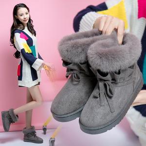 亿家乐2018冬季新款欧美毛毛雪地靴女靴子时尚蝴蝶结短靴棉靴子