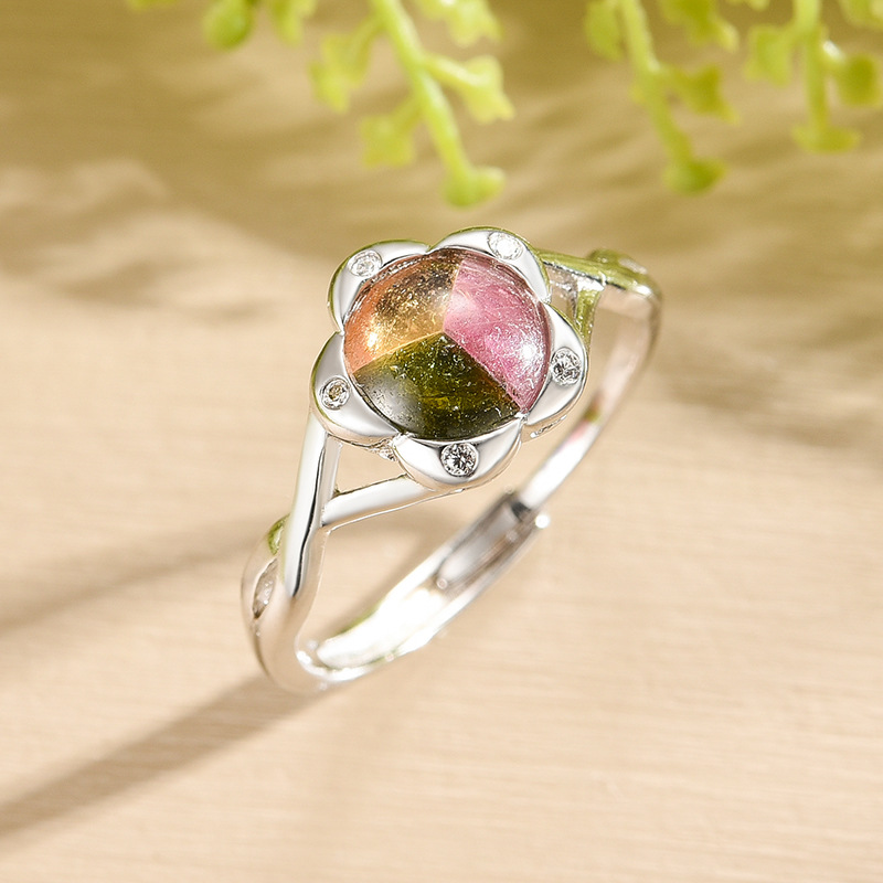 Brazilian Tourmaline Ring S925 silver inlaid crystal female puzzle