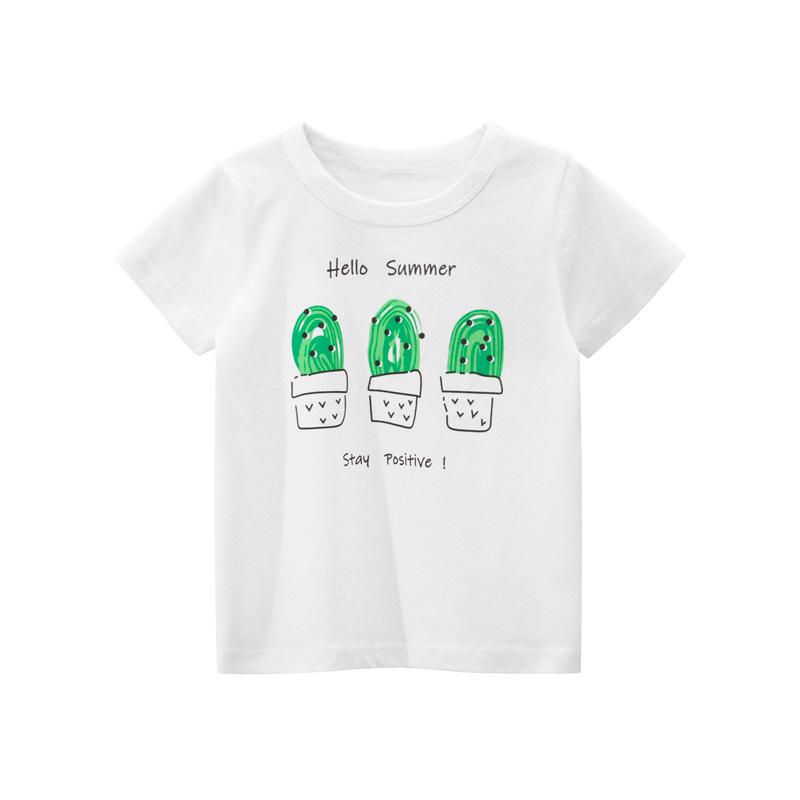 Brand 3-9 years old cotton short sleeve T-shirt 2020 new summer childrens wear girls half sleeve three pot cactus pattern