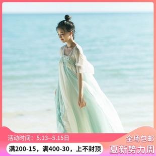 忆旧棉麻记2019夏装新款女装 复古国风长裙 大摆连衣裙 汉服襦裙