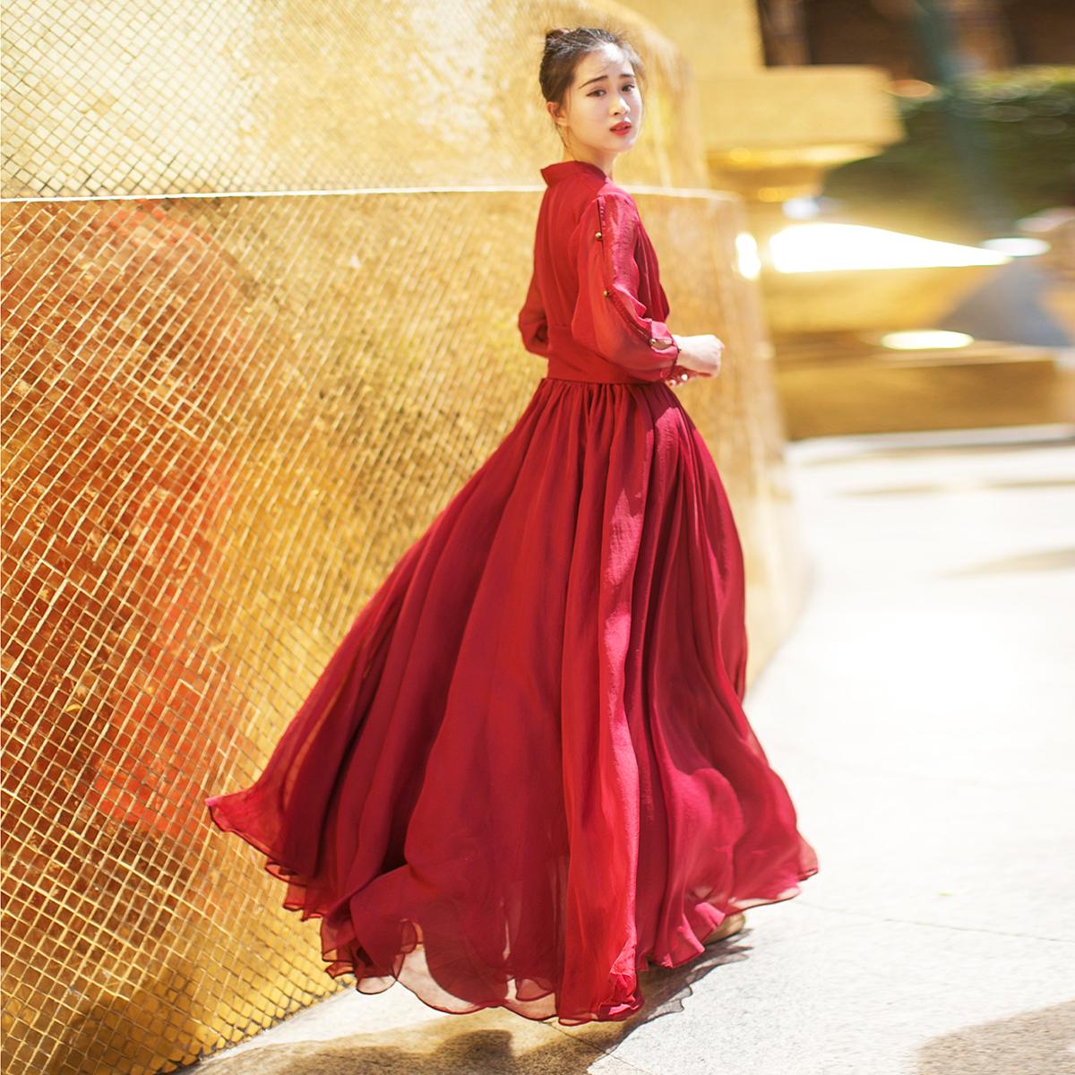 棉麻记汉服大裙摆长裙2020夏季新款 V领收腰显瘦气质红色连衣裙女