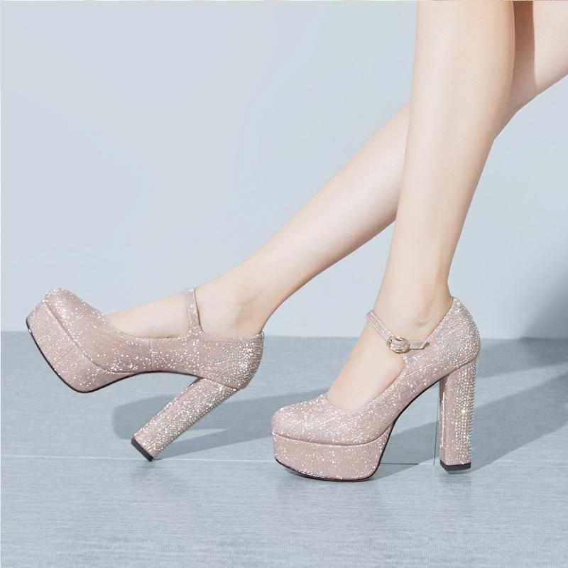 厘米12高跟鞋女粗跟真皮防水台宴会水钻婚鞋新款圆头一字扣超高跟