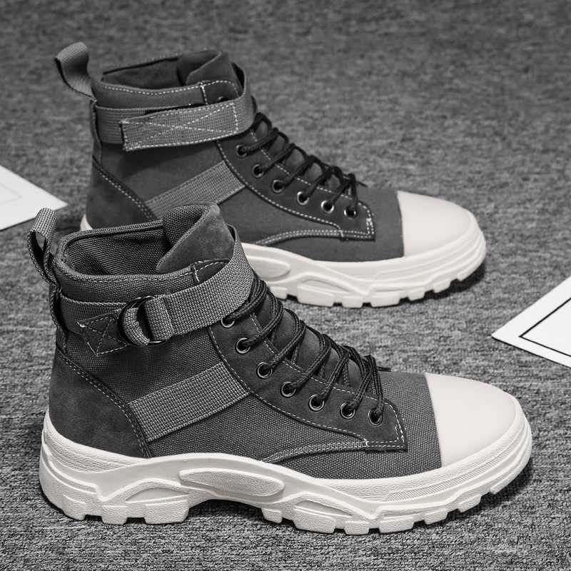 王乔丹雀马丁靴男秋季透气男鞋高帮工装鞋英伦风中帮沙漠军靴男士图片
