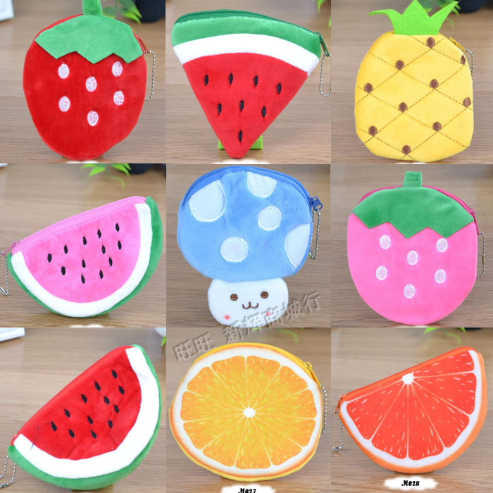 Plush pocket change Mini coin bag fruit strawberry watermelon small wallet cute girl birthday gift wholesale