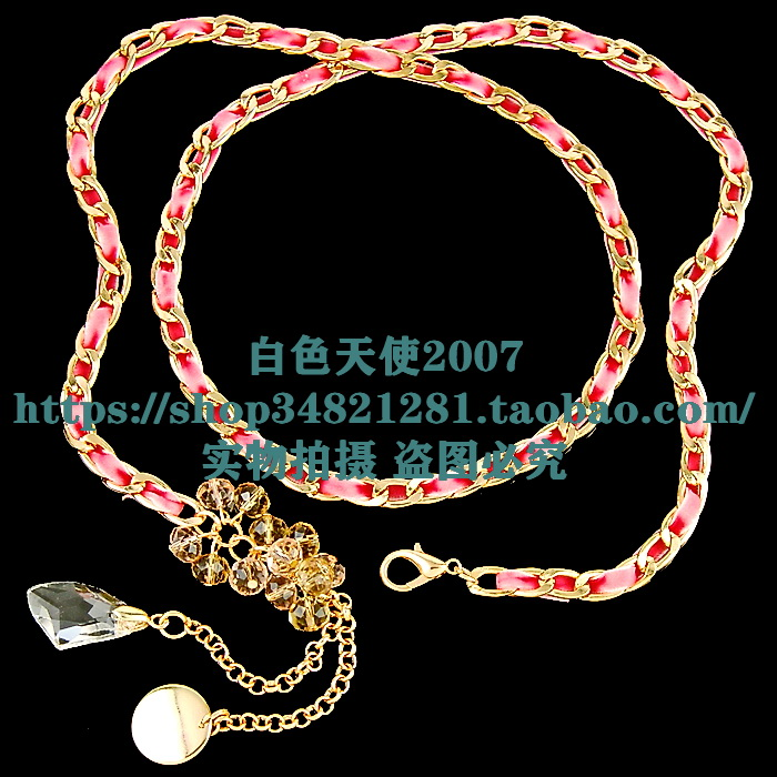 3 pieces of velour belt braided tassel crystal metal jewelry waist chain belt womens waist accessories can be used as necklace