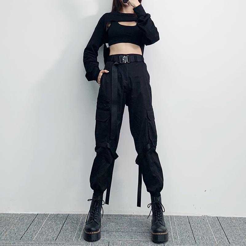 酷酷的女孩装ins机能风黑色工装裤女2019秋季新款宽松绑带束脚裤