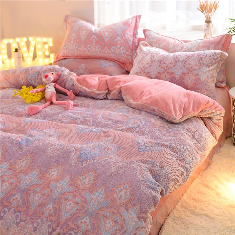 6D雕花珊瑚绒四件套冬季保暖加厚1.5m/1.8米床上用品宝宝绒被套母婴用品优惠券