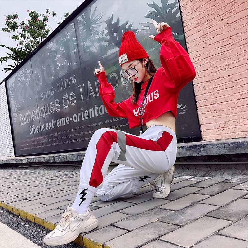韩版宽松爵士舞服装嘻哈帅气hiphop街舞套装女舞台演出表演服成人