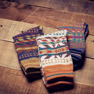 3双装原宿民族风粗线日系毛线袜子