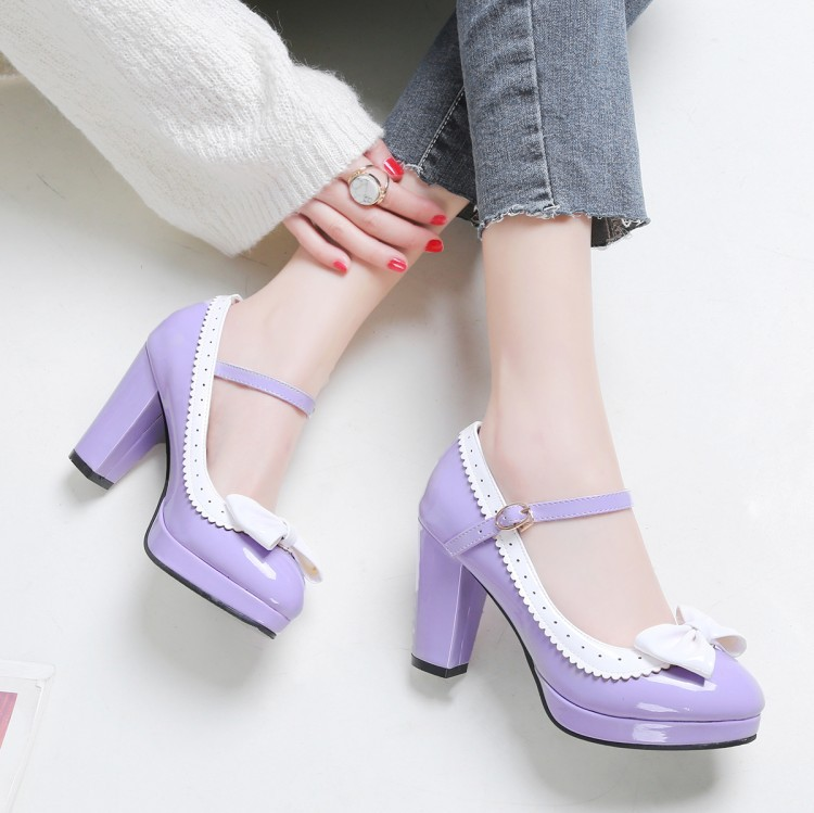 Cos single shoe thick heel high heels waterproof platform womens shoe one character buckle red pink purple Lo Lolita lacquer leather shoes