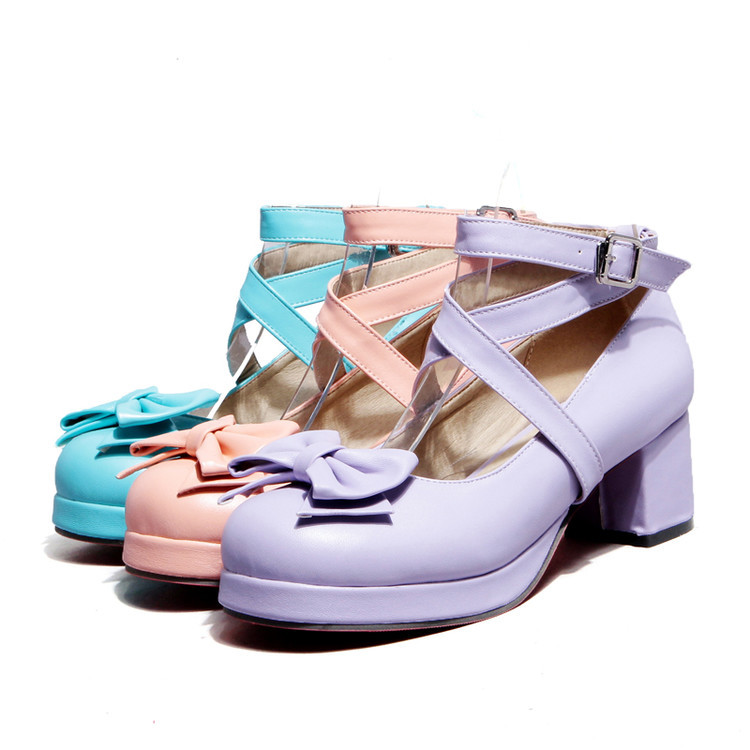 Purple Blue Pink thick heel middle heel platform Lolita single shoes button bow womens shoes