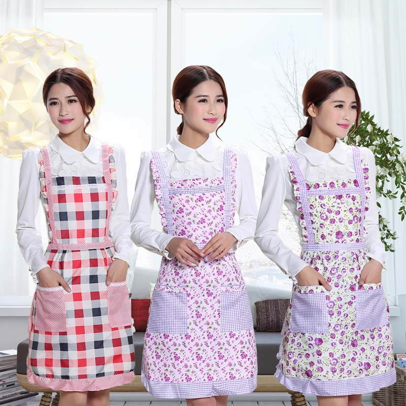 Korean fashion floral Plaid Double Pocket Vest lovely household kitchen waterproof and oil proof apron womens apron