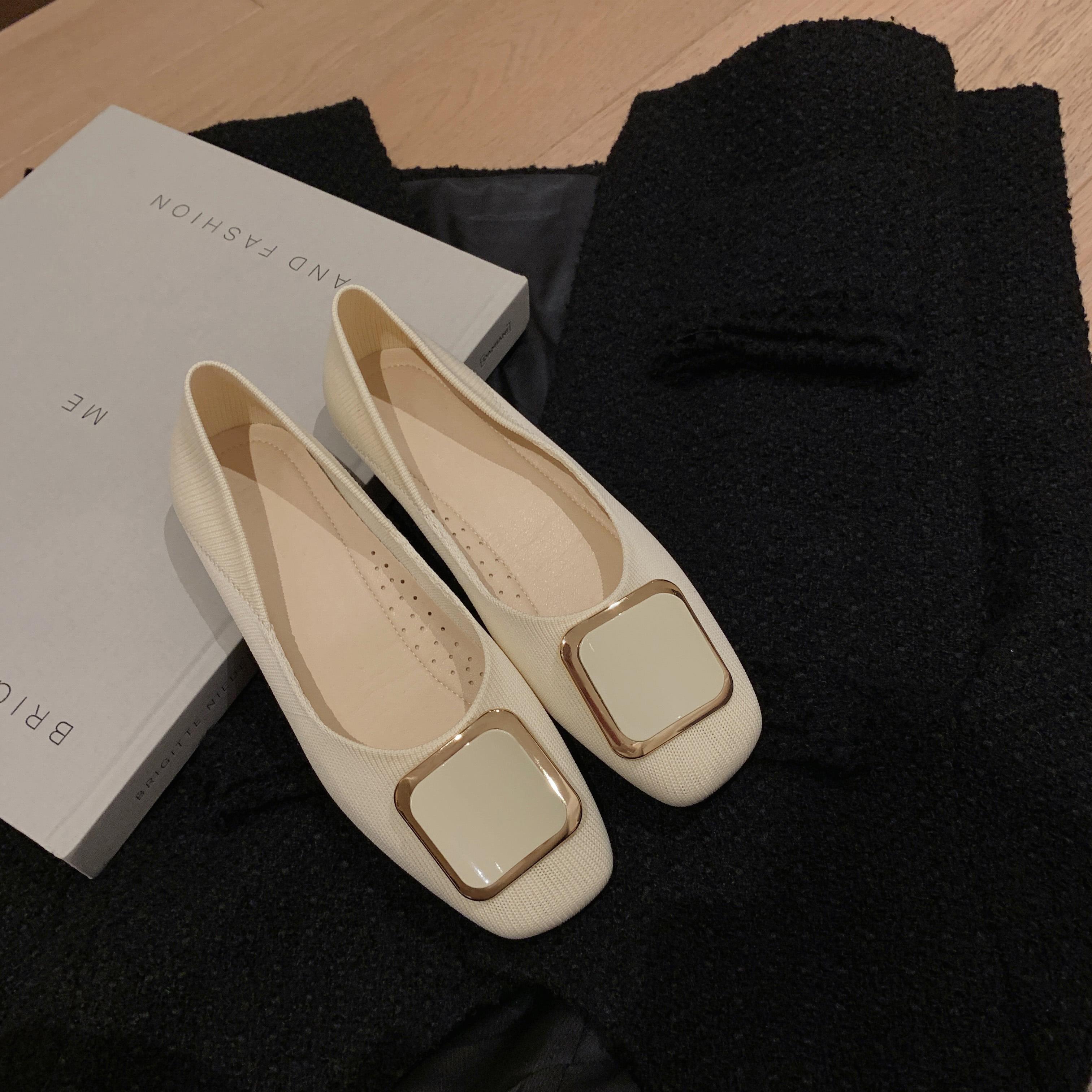 NRETRO私人定制 单鞋女2021年新款爆款春款小布鞋一脚蹬平底鞋子