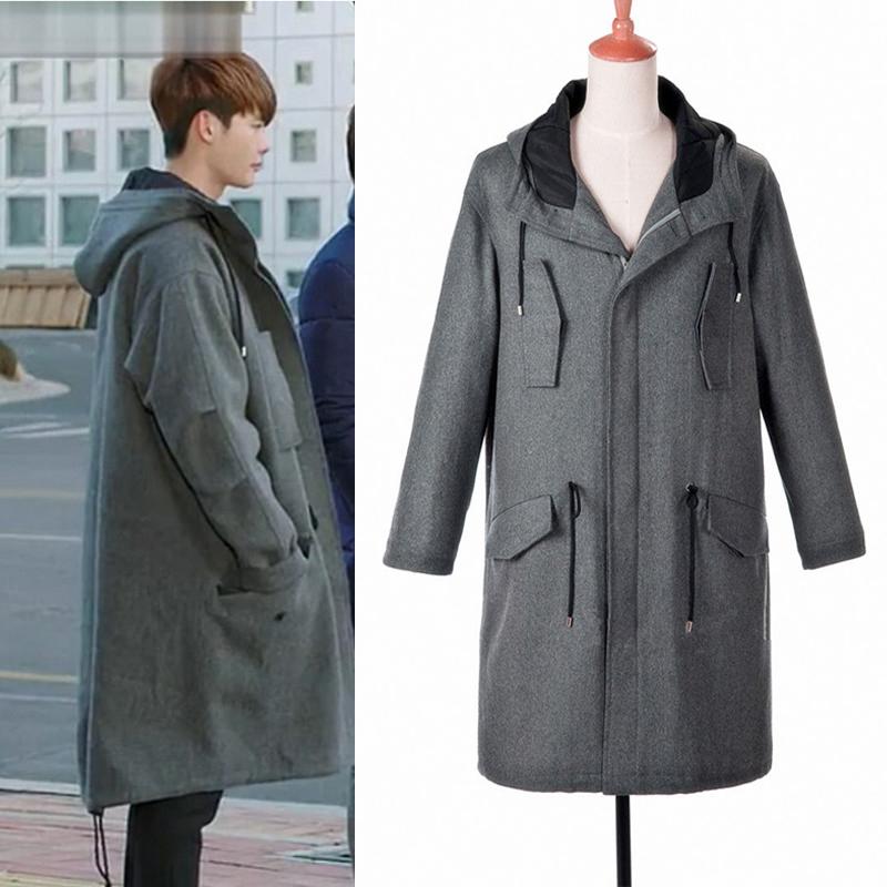 当你沉睡时李钟硕同款韩版宽松呢子大衣长款韩国加厚羊毛外套