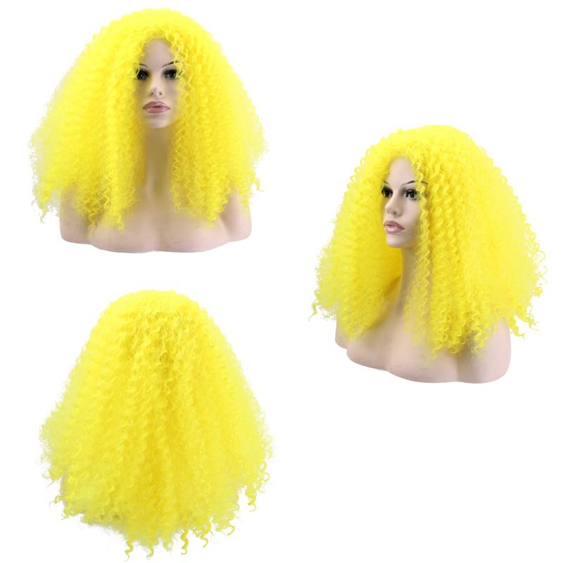 黄色螺丝卷假发欧美畅销明星同款长卷发长舞会派对假发时尚假发女图片