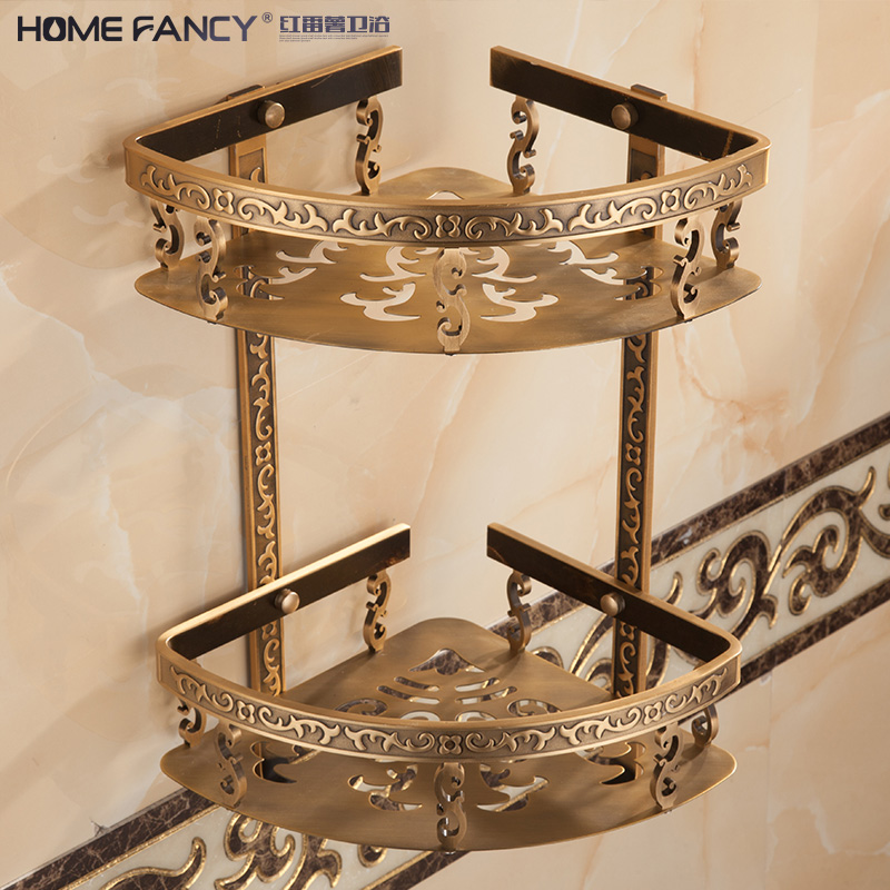 歐式太空鋁仿古三角籃 複古置物架衛生間浴室衛浴雙層轉角三角架