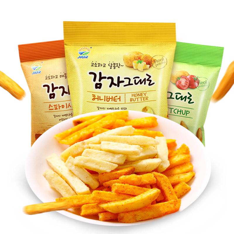 包郵 韓國 零食 九日牌蜂蜜黃油 番茄 辣味土豆條54g^~3包薯條