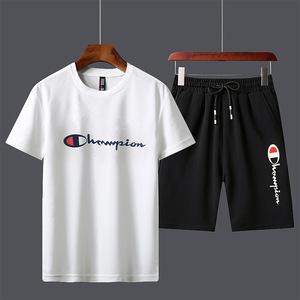 夏季短袖套装男士冠军同款新款休闲潮牌情侣装衣服男装潮流t恤男