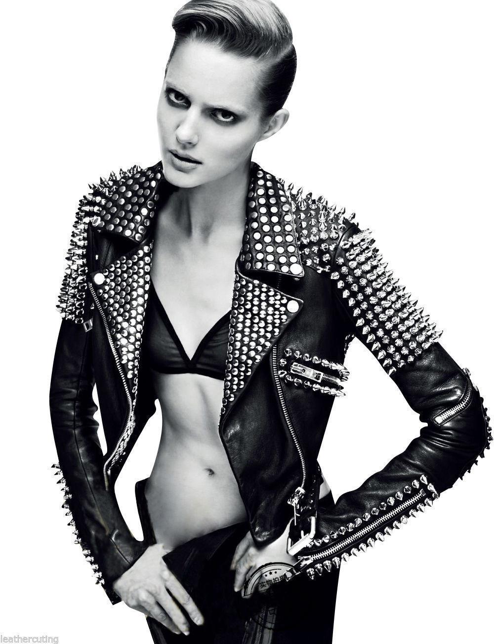铆钉机车朋克皮衣外套  女士镶嵌皮革摩托车夹克修身性感时尚