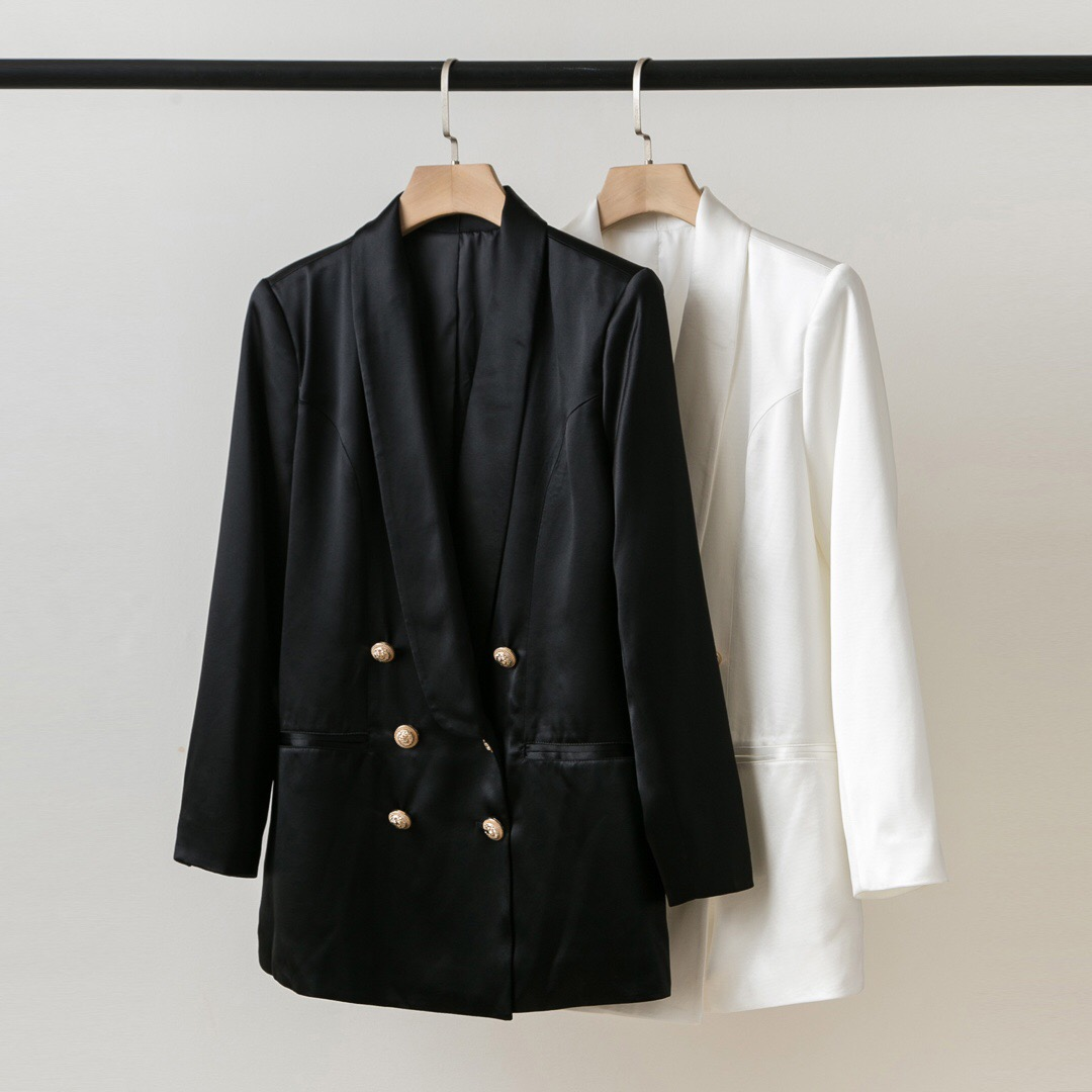 New British style imported acetic acid fabric pure color satin double breasted long Lapel Blazer autumn