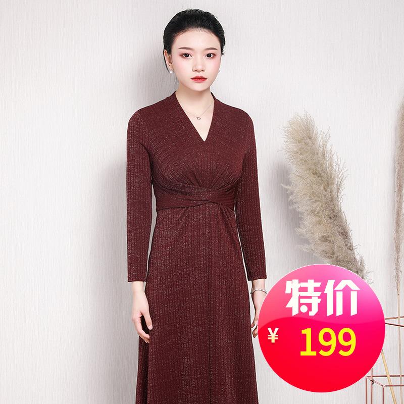 回味依衣服饰店3酒红色V领气质连衣裙交叉修身高腰显瘦长裙时尚潮