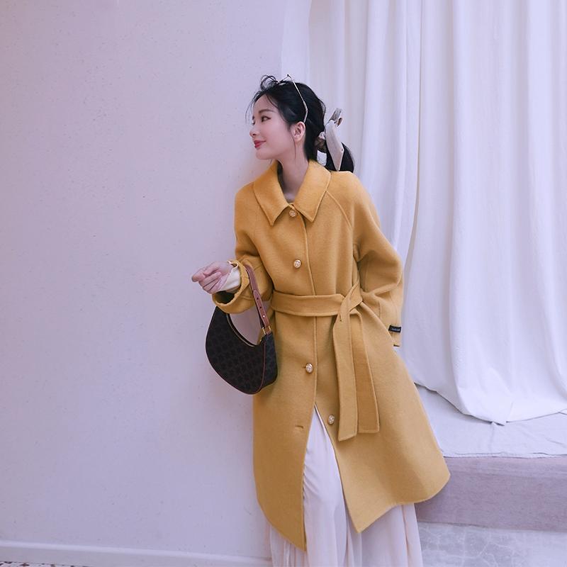 YNIR/影儿 澳洲双面呢羊绒大衣女年轻款中长款南瓜色橘色毛呢外套