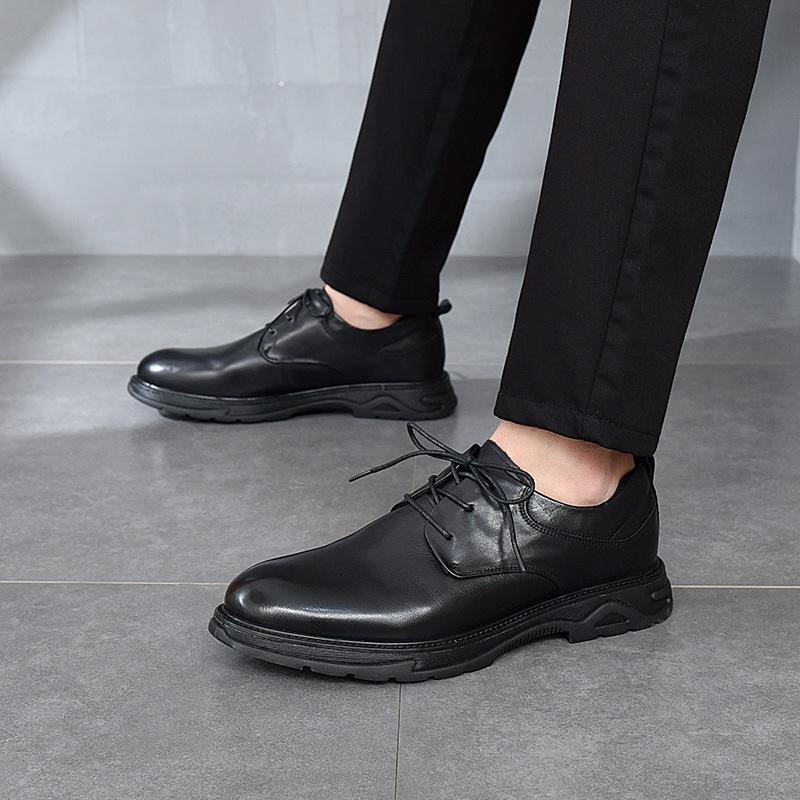 2021秋冬新款男式商务皮鞋头层牛皮正装软皮系带男鞋圆头低帮鞋子