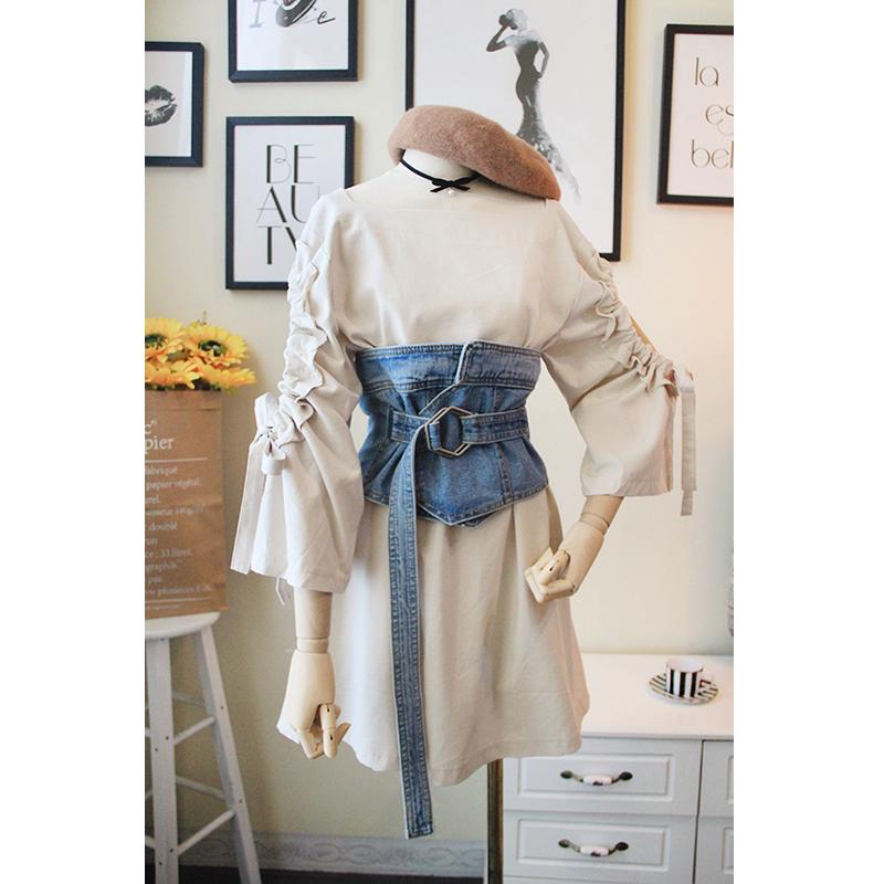 韩国秋款长袖牛仔腰封荷叶边抽绳挖肩宽松显瘦连衣裙两件套套装女