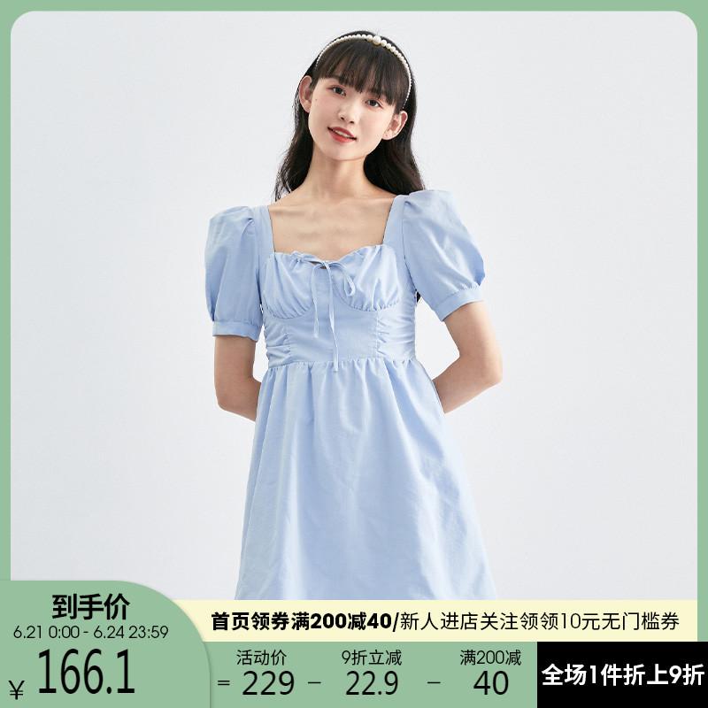 西遇连衣裙女短款2021年新款甜美气质方领泡泡袖裙子女夏D0710377