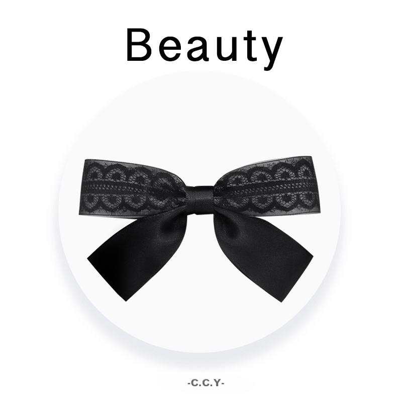 Korean bow black Japanese female headdress adult elegant hairpin hairpin back of head spring clip hairpin top clip