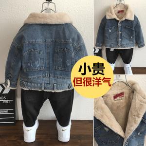2男童加绒牛仔外套5儿童宝宝加厚5韩版毛领夹克上衣3-8岁秋冬装潮
