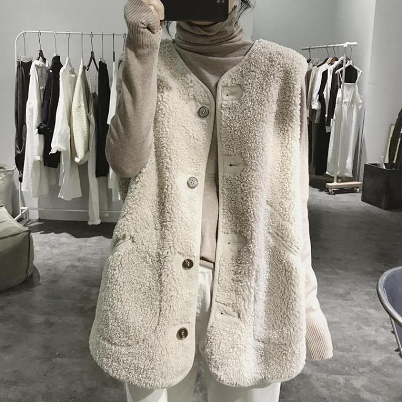 羊羔毛马甲女秋装新款韩版百搭外穿皮毛一体背心毛绒马夹两面通勤