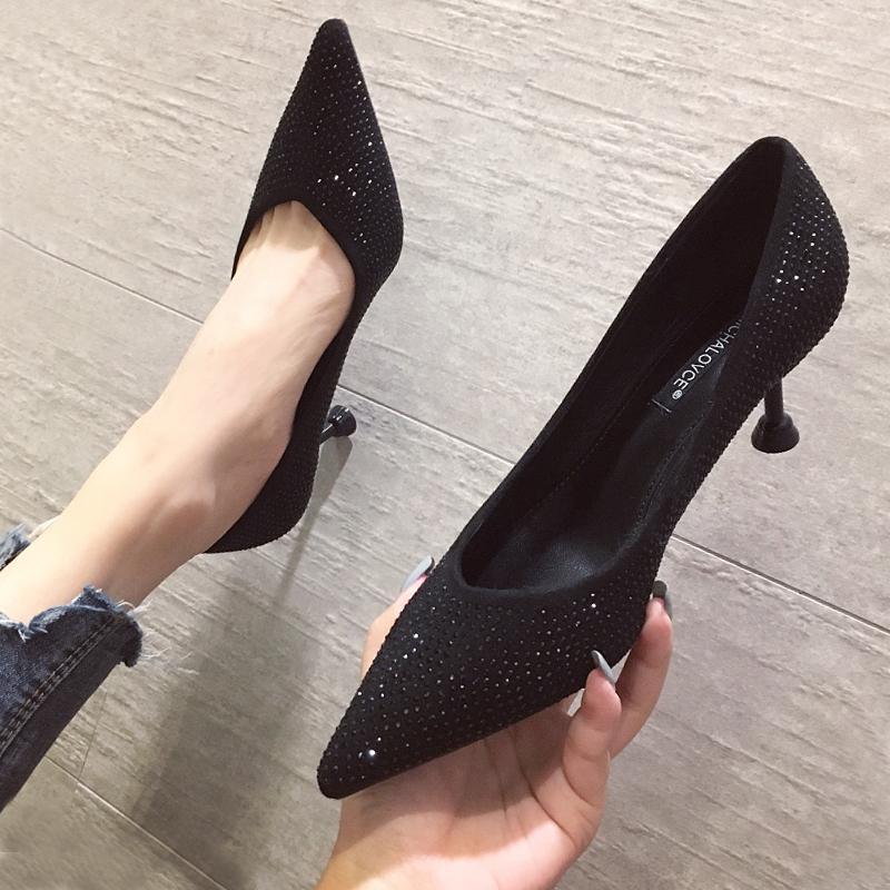 2021春秋季新款百搭高跟鞋黑色女细跟小清新法式少女细跟尖头网红