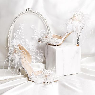 白色绸缎面简约风女凉鞋尖头中空珍珠亮片水钻羽毛新娘细高跟鞋新