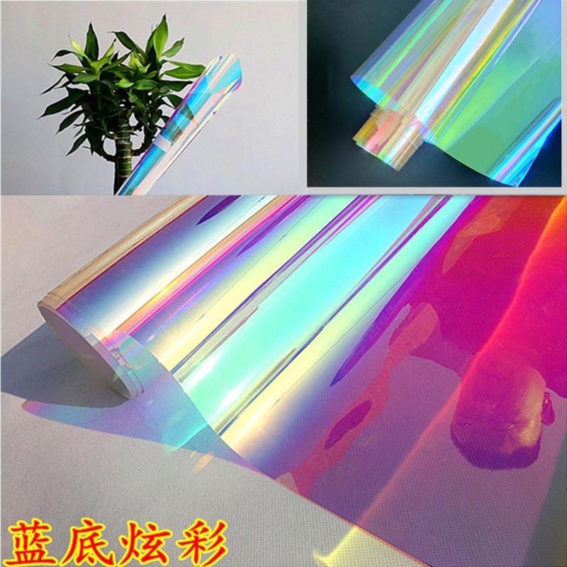 炫彩膜幻彩镭射纸七彩玻璃纸贴膜镭射膜滴胶手工彩虹透明彩色贴纸