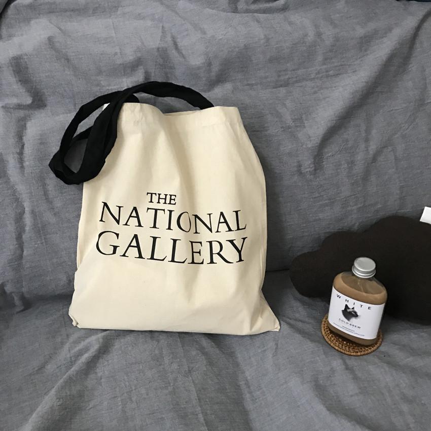 英国 The national Gallery 棉布袋字母单肩环保购物袋国家美术馆