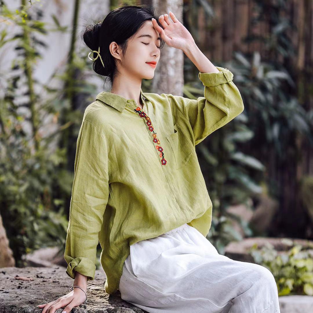 复古文艺民族风亚麻重工花朵精致刺绣衬衫女初春宽松显瘦休闲上衣