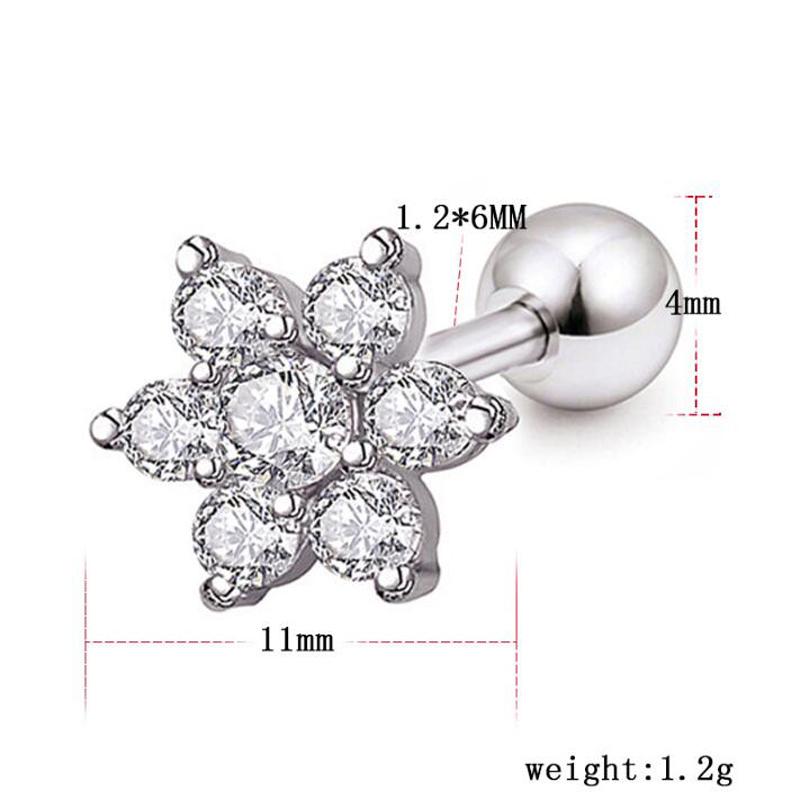 Stainless steel navel creative zircon flower body echo piercing jewelry small ear bone piercing jewelry