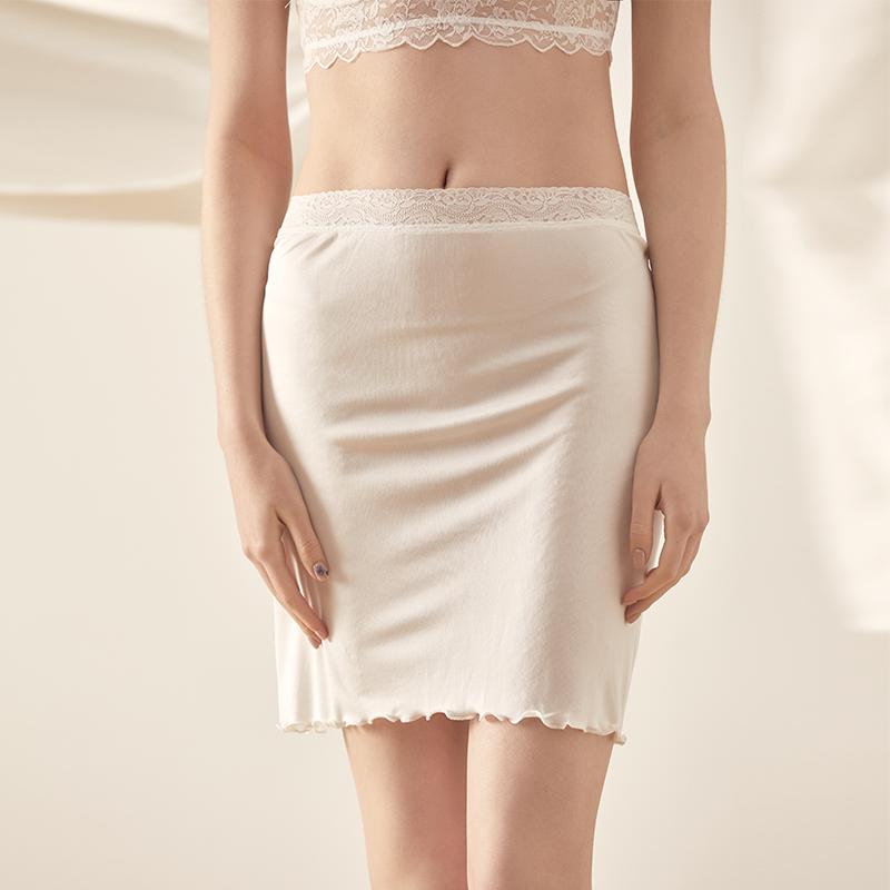 夏季女士真丝针织蕾丝花边半身裙 桑蚕丝防走光内衬裙打底裙 睡裙