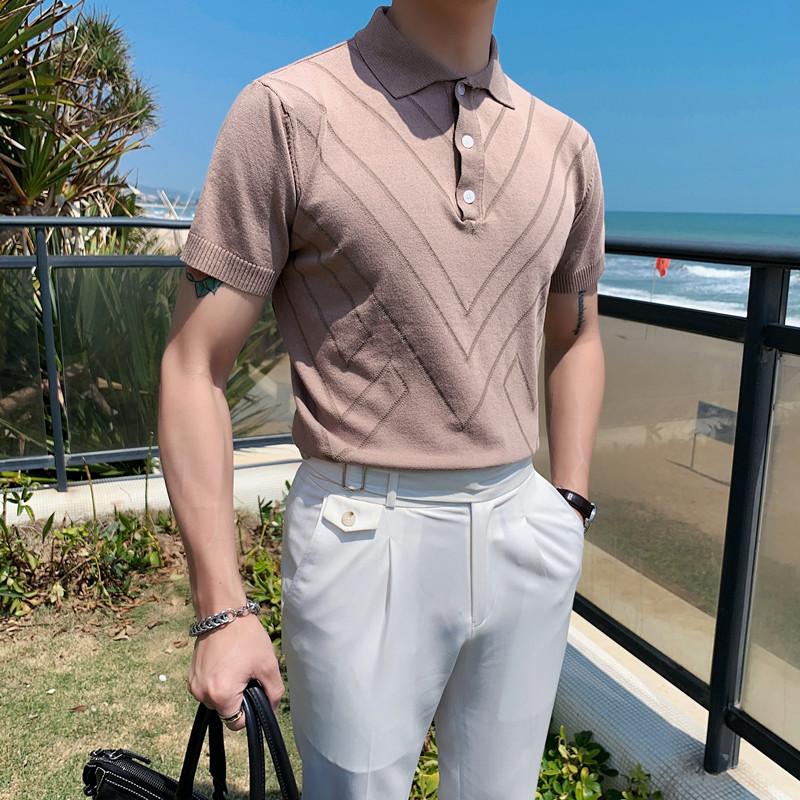 PT02-P53型男冰丝短袖纯色条纹T恤 英伦修身翻领休闲针织POLO衫
