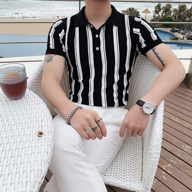PT03-P55夏季型男冰丝短袖条纹T恤 英伦修身翻领针织休闲POLO衫潮