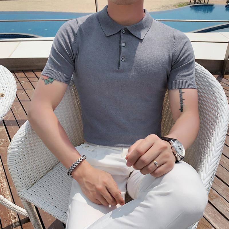 020-特P45夏季型男冰丝短袖纯色T恤英伦修身翻领针织休闲POLO衫潮