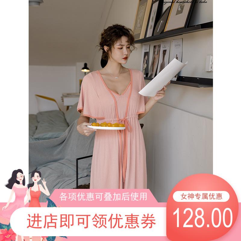 热销春夏新款 韩系甜美蝙蝠袖短袖吊带睡袍莫代尔睡衣套装包邮