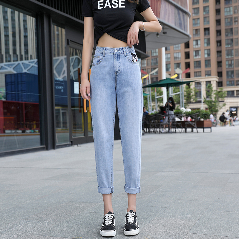 Embroidered Mickey 2020 new summer denim cropped pants womens casual thin little students versatile old dad pants